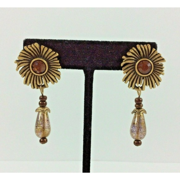 Chico's Dangle Earrings Floral Gold Tone Bead Drop
